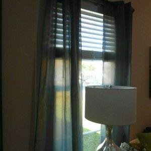 Shimmery gray blue drapes grommet 39X82 (4)